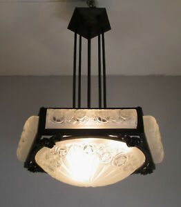STUNNING FRENCH ART DECO CHANDELIER 1925 OF DAVID GUERON ( DEGUE )