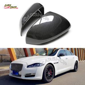For Jaguar XE XK XF XJ XKR 12-18 Carbon Fiber Side Mirror Cover Cap Replacement