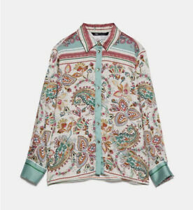 Zara Printed Floral Scarf Paisley Silky Satin Shirt Blouse Top Size Small