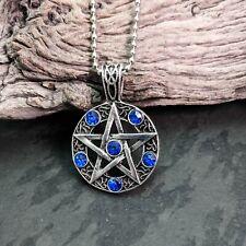 Antique Silver Tone Pentacle Pentagram Pendant Necklace Blue Cubic Zirconia