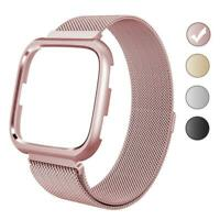 For Fitbit Versa / 2 Magnetic Milanese Loop Mesh Wrist Band Strap Watch w/ Frame