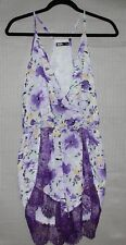 Chic a booti Women's beautiful purple floral romper with lace trims SIZE 8