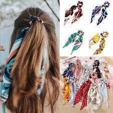Women Bow Satin Ribbon Ponytail Scarf Hair Band Tie Scrunchies Elastic Hair Rope