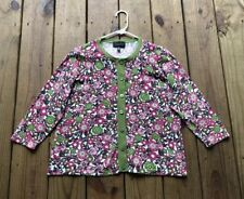 Investments women's L petite green pink floral button 3/4 sleeve knit cardigan