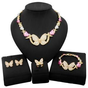 HUGS & KISSES Multi colors Butterfly Set Necklace bracelet Earrings Ring GF