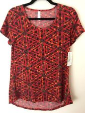LuLaRoe Classic T Tee Line Red with Stripe Print in Black, Green Size XS NWT