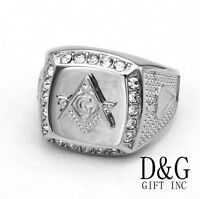DG Men's Silver Stainless Steel,Masonic CZ Ring Size 8 9,10,11,12 13,BOX