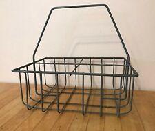 Antique/Vintage Milk 4-Bottle Holder Metal Crate Container Caddy Basket Carrier