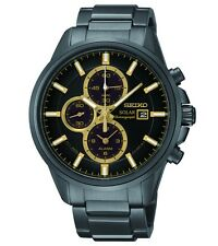 Brand New Seiko SSC269 Solar Chronograph Black Ion Stainless Steel Men's Watch