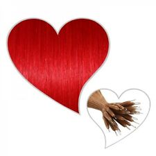 25 red Nano Tip Extensions 45 cm Real Hair in New instead of Microring