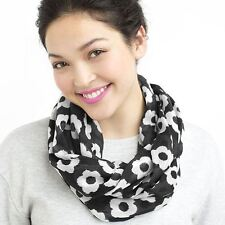 """Imported BLACK Daisy Infinity Fashion Scarf 100% Polyester 26"""" Width 62"""" Around"""