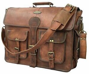 Unisex Vintage Genuine Brown Goat Leather Mesenger Briefcase Shoulder Laptop Bag