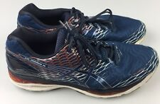Asics Gel Nimbus 18 Running Shoes Men's Size 14 Navy Blue Orange Grey T600N