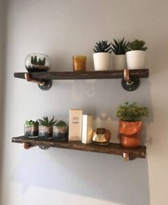 Rustic Shelf Industrial Copper Pipe Brackets  43cm Long 15.5cm Wide