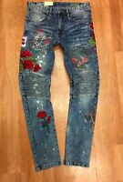 Mens Fashion Biker Denim Jeans With patches Rose By Smoke Rise Slim Tapered