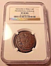 1823 V Peru 1/4 peso copper Provisional coin  real quarto octavo Cuzco NGC XF40