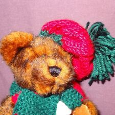"Brown Teddy Bear Green Red Scarf Hat Plush Stuffed Animal Toy 7"" Hugfun Int'l"