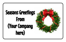 Personalised Matte Business Company Seasons Greetings Tag Stickers Labels Xmas