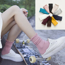 Women Lady Solid Color Cotton Blend Retro Ankle Crew Socks Casual Socks 5 Pairs