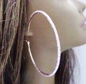 ROSE GOLD PLATED 2 INCH HOOPS CRYSTAL RHINESTONE HOOP EARRINGS SIMPLE THIN HOOPS