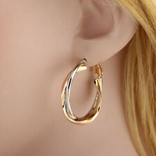 1 pair Women Unique  Gold Silver Plated Metal Ear Hoop Earring Jewelry