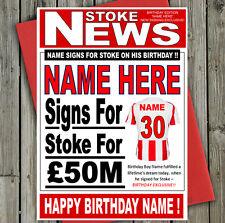 """Stoke City FOOTBALL FAN """"formali"""" Personalizzata Compleanno Carta! qualsiasi nome / numero!"""
