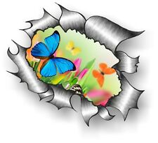 CLASSIC Ripped Open Torn Metal Rip & Pretty Butterfly Design Vinyl car sticker