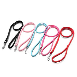 Dog Puppy Cat Pet Collar Leash Leather Long Lead Rope Belt Harness Supply NEW