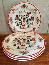 "Jamestown China Joy of Christmas Dinner Plates 10 3/4"" Set/4"