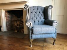 Chesterfield Queen Anne wing back chair in grey Harris tweed & vintage leather