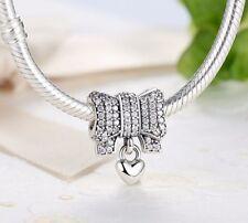 925 Silver Sterling Bow & Heart Dropper Dangle Charm 4European bracelet+gift box