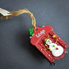 Katelyn Christmas Ornament Personalized Name Red Sled Ganz NEW