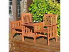 Kingfisher Hardwood Garden Love Seat Duo Table & 2 Chairs Chair Companion Set