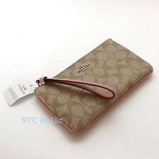New Coach F58695 Large Wristlet In Signature Coated Canvas Light Khaki Blush NWT