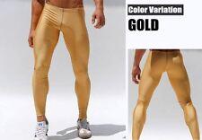 Mens Medium Metallic Gold Compression Running Tights Training Activewear Gay UK