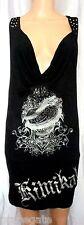 KIMIKAL *POISON LOVE* SHEATH DRESS: Black /Silver Foil/Crystals/Studs/Chains, S