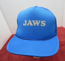 Jaws Movie Trucker Hat Shark Promo Logo! Blue Vintage Style Snapback Cap!