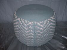 Vintage BLUE & WHITE Hassock OTTOMAN Pouf Footstool~Woven Rope~Nautical~Retro