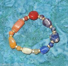 Stone Beads New Healing V 1.1 Chakra Bracelet 7 Genuine Gemstone Crystal Tumbled