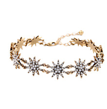 Gold Bronze Double Row Star Snow Flakes Glamours Bling Bling Choker Necklace