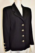 ST JOHN BASICS Black SANTANA KNIT Gold Logo Crest Button Longer Jacket Blazer 12