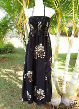 Hawaiian Black Florals Luau Cruise Long One Size Dress