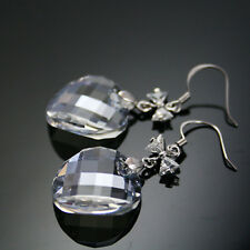Crystal Clear Twisted Bead 925 Sterling Silver Drop Earrings Swarovski Element