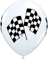 CHECKERED Flag Car NASCAR Stock RACE (6) LATEX Deluxe Quality Helium Balloons