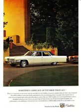 "1965 white Cadillac Fleetwood Limo photo ""Abundant in Luxuries"" vintage print ad"