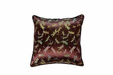 NEW 50cm x 50cm (2 Pack) Satin Dragonfly Brown Cushion Cover