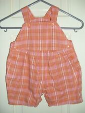 Girls Cotton Orange Check Shorts  Playsuit age 3-6 months.