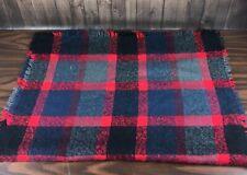 "Buffalo Plaid Lightweight Lap Blanket 30""x60"" Red, Gray & Black Checkered Throw"