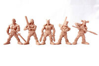 Barbarians Swordsmen 5 Fantasy Figures 60 mm Plastic Toy Soldiers Tehnolog New