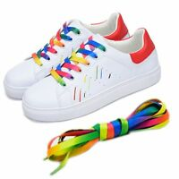 5Pair 110cm Flat Rainbow Shoelace Long Sports Shoe Laces Strings Strap Bootlaces